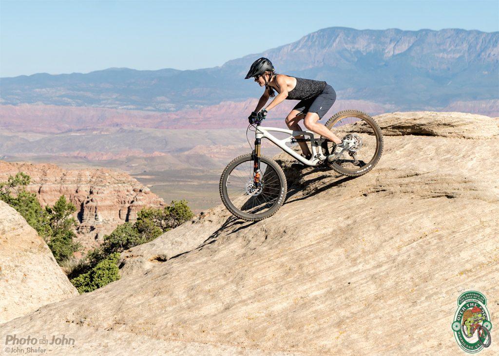 Christine Harrington rides the Ibis Mojo 4 at Gooseberry Mesa