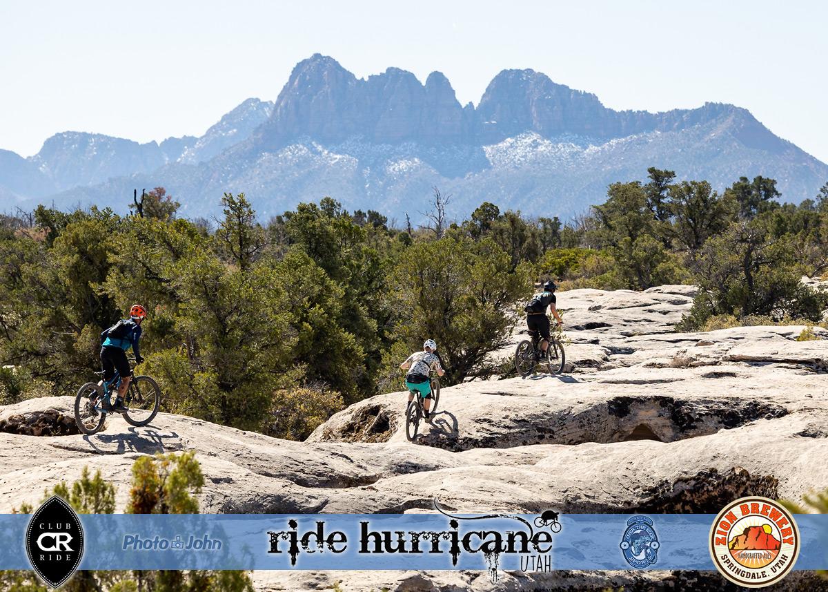 Mountain biking on rocks with Southwestern background